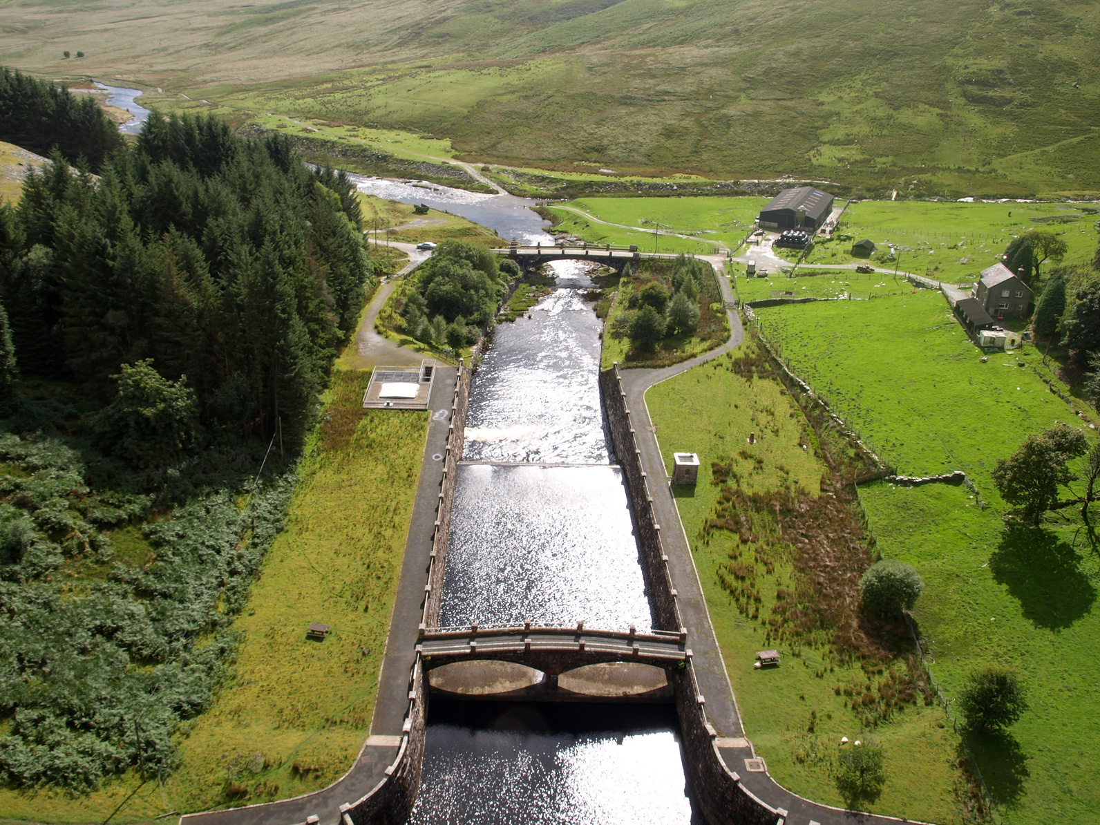 An aerial view of the Elan Valley