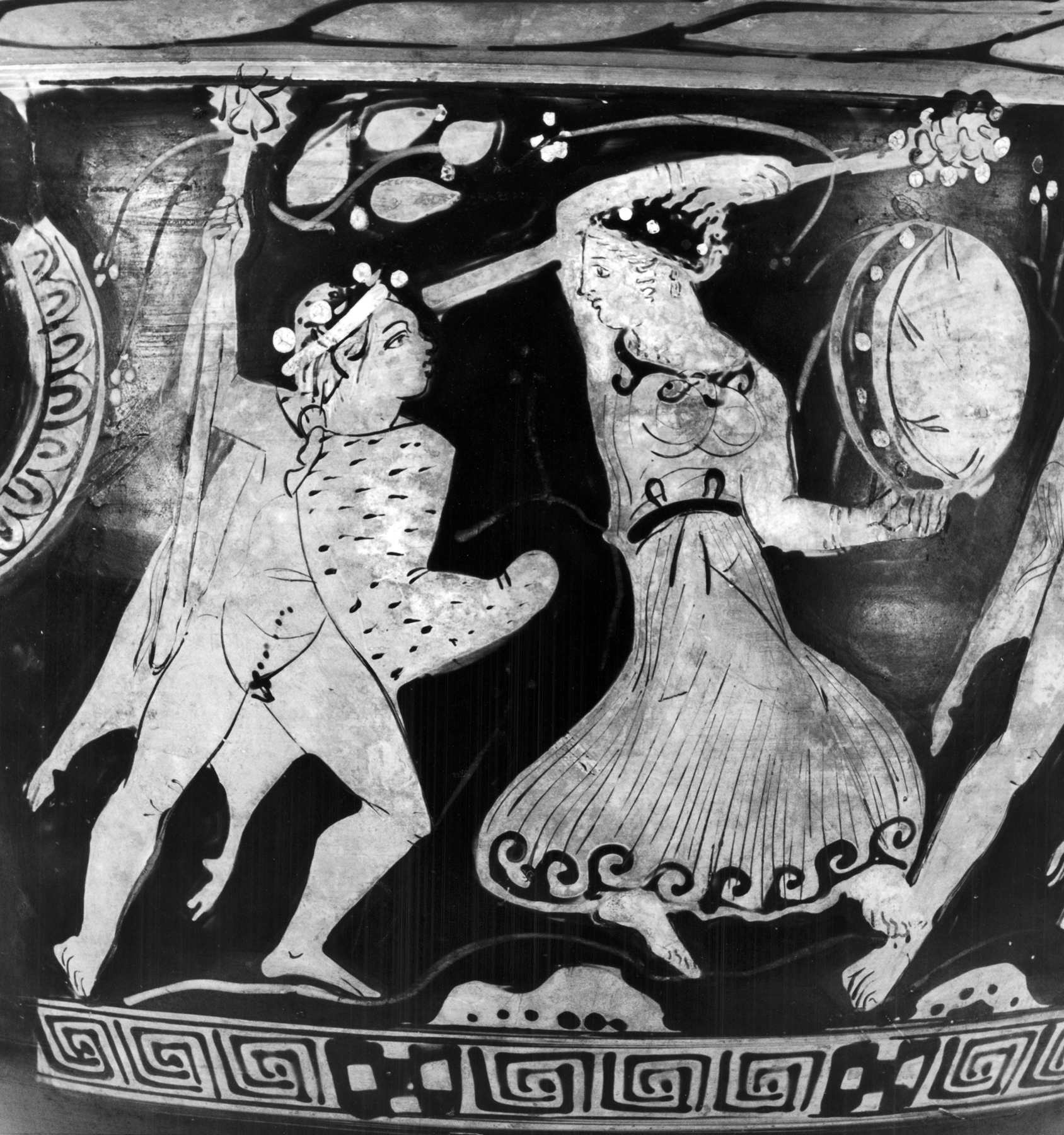 Walters-Dresden_Painter_-_Bell-Krater_with_Satyrs_and_Maenads_and_Three_Draped_Men_-_Walters_4875_-_Side_A_Detail.jpg