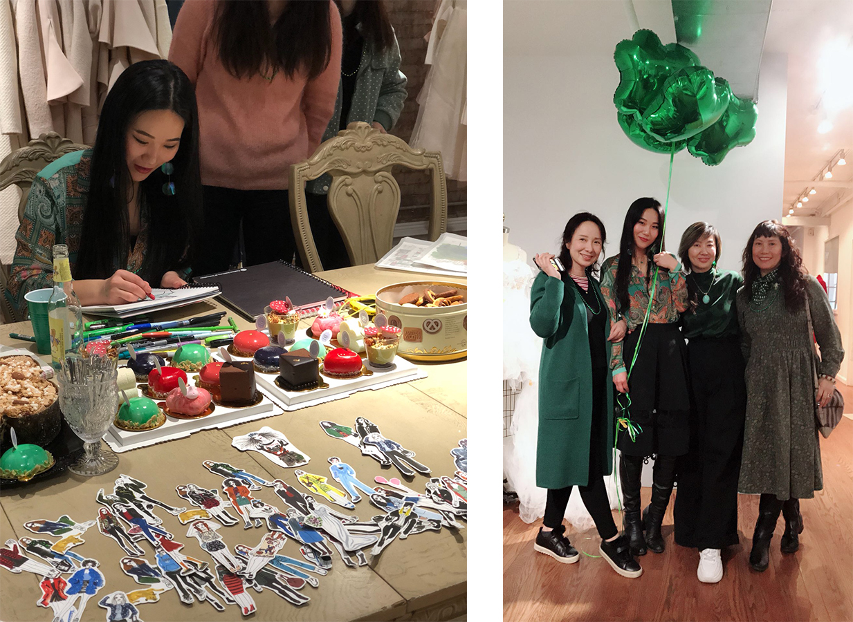 LULU x LANYU Couture  Lulu's live portrait sketching workshop at LANYU Couture New York at Saint Patrick's Day March 17 2018