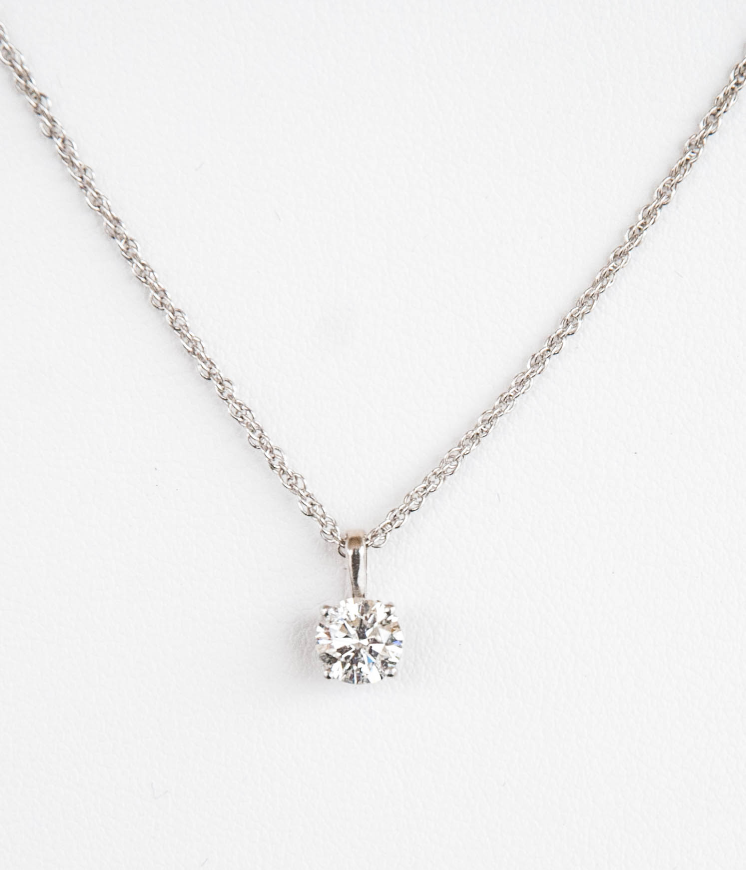 """160-356  14 Karat White Gold Pendant with One 0.75 Carat Round Diamond, Clarity I3, Color G 18"""" Sterling Silver Rope Chain $3,749.00"""