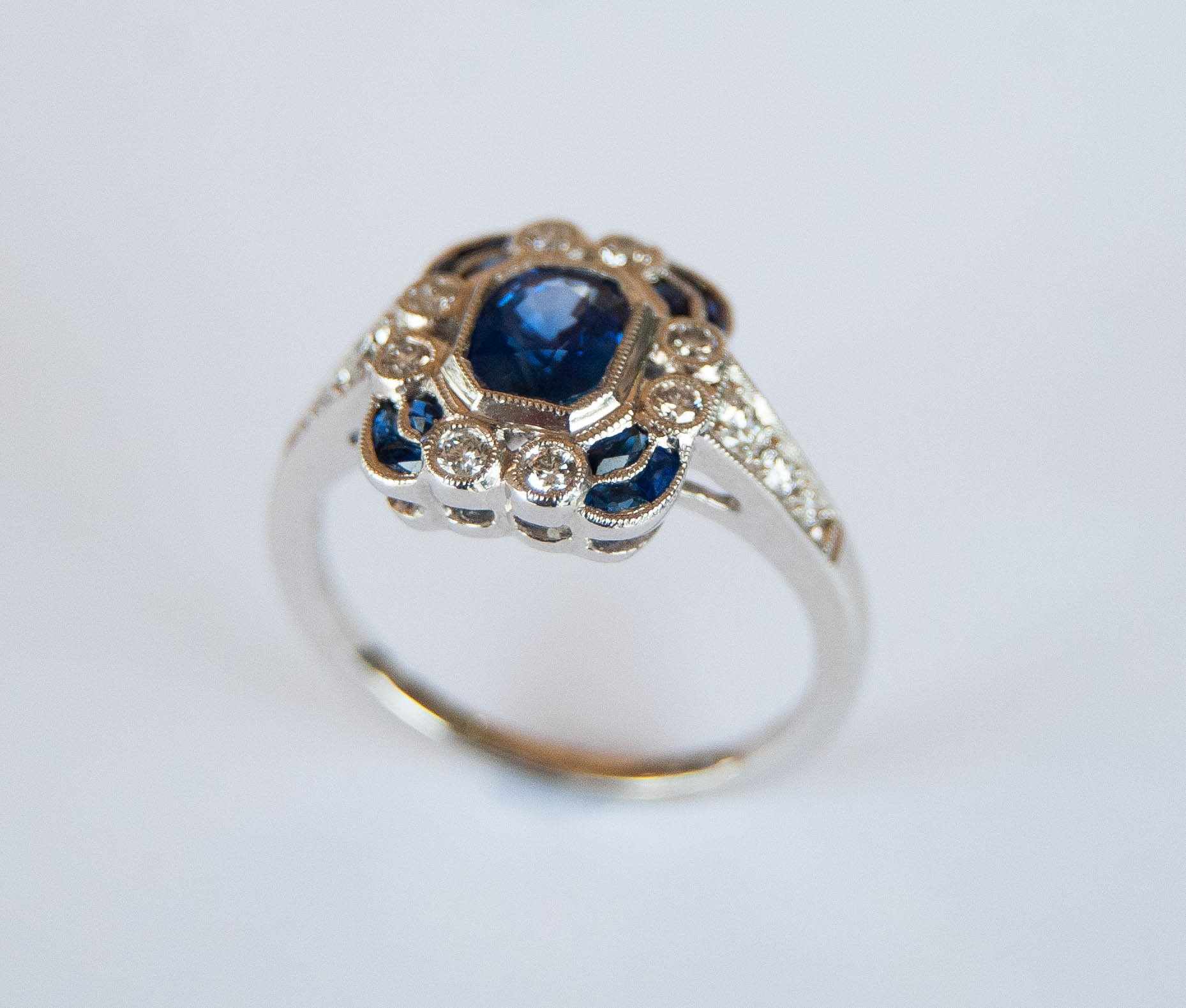 200-855   18 Karat white gold Vintage Style Fashion Ring With 1.18Tw Various Shapes Sapphires And 0.33Tw Round Diamonds $3,738.00