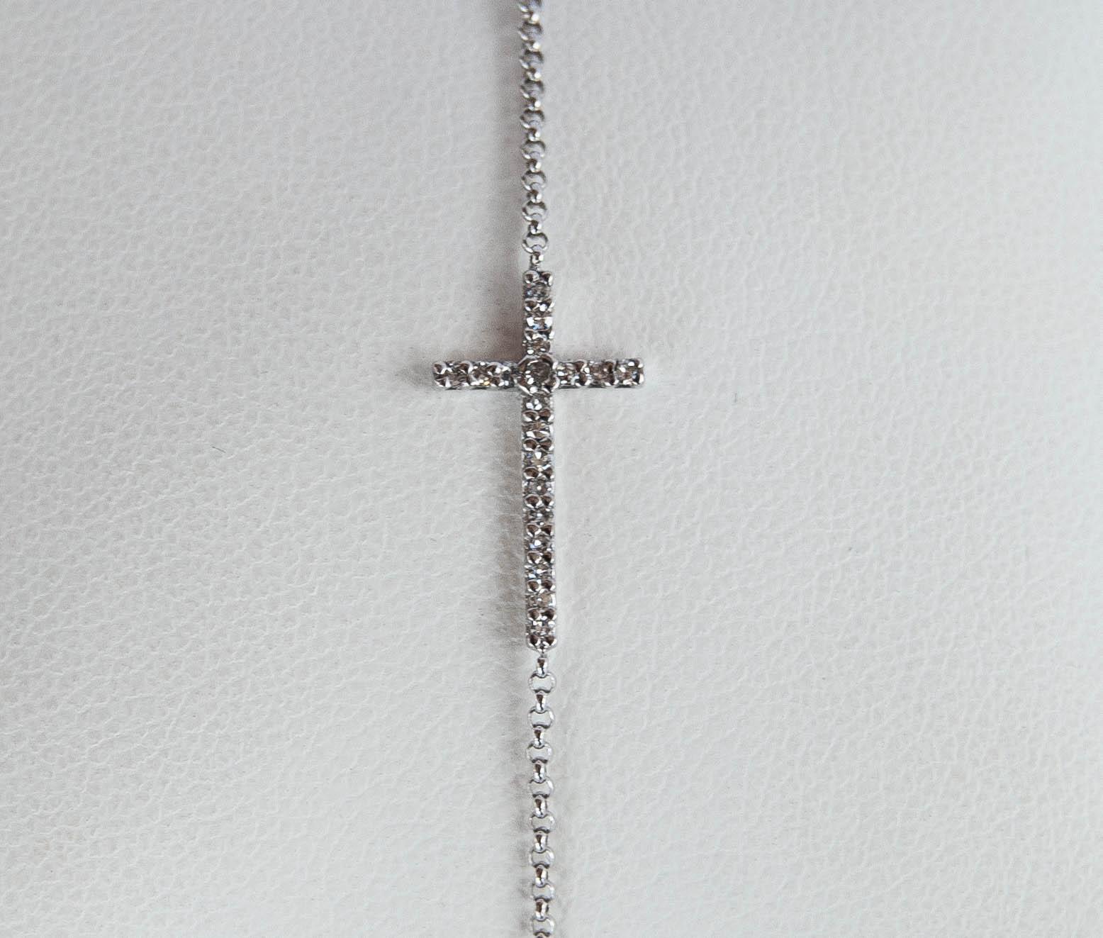 170-35 14 karat white gold Cross Bracelet Length 7 With 0.10Tw Round Diamonds $588.00