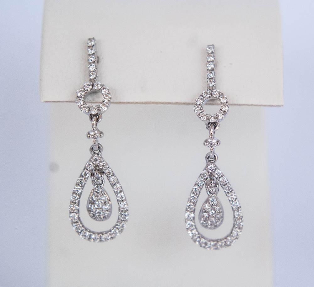 150-463 14 Karat White Gold Drop Earrings With 0.83Tw Round Diamond $1,918.00
