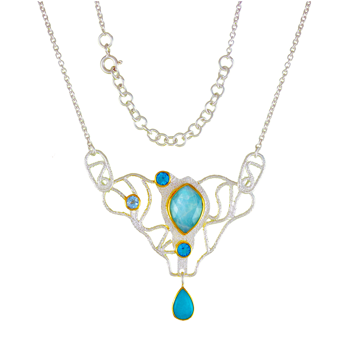 "670-4  22K Yellow Gold Sterling Silver Sterling Necklace With Stones With 2= Pear Amazonite And 3= Round Blue Topaz, 20""  $330.00"