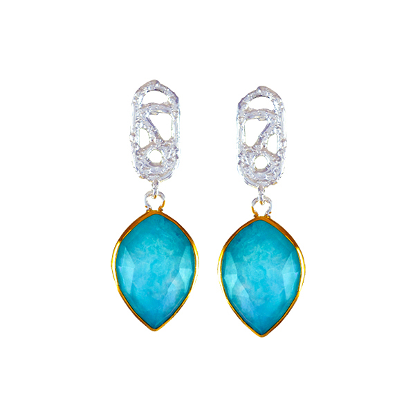 645-2897   22K Yellow Gold Sterling Silver Drop Earrings With 2= Pear Amazonite  $185.00