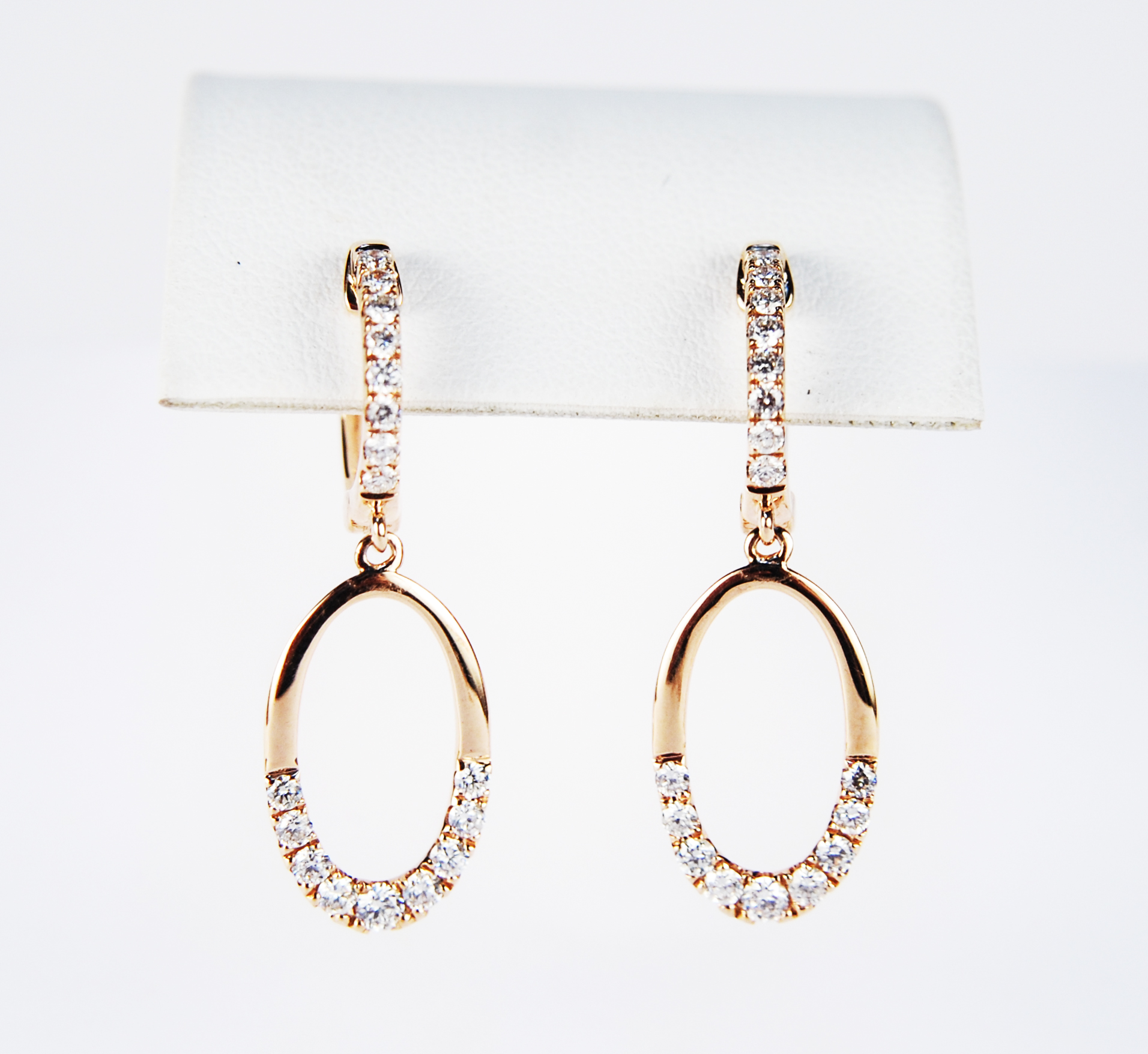 150-479   18 Karat Rose Gold Satin Lever Back Drop Earrings With 0.58Tw Round Diamonds $1,563.00