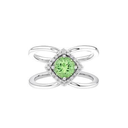 200-904   14 Karat White Gold Halo/ Split Shank Fashion Ring Size 7 With One 0.97Ct Round Mint Garnet And 0.14Tw Round Diamonds $2,257.00