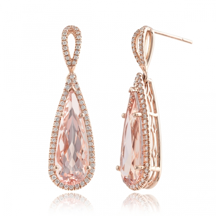 210-2313   14 Karat Rose Gold  Halo - Drop Earrings With 2=2.56Tw Pear Morganites And 0.36Tw Round Diamonds $2,888.00