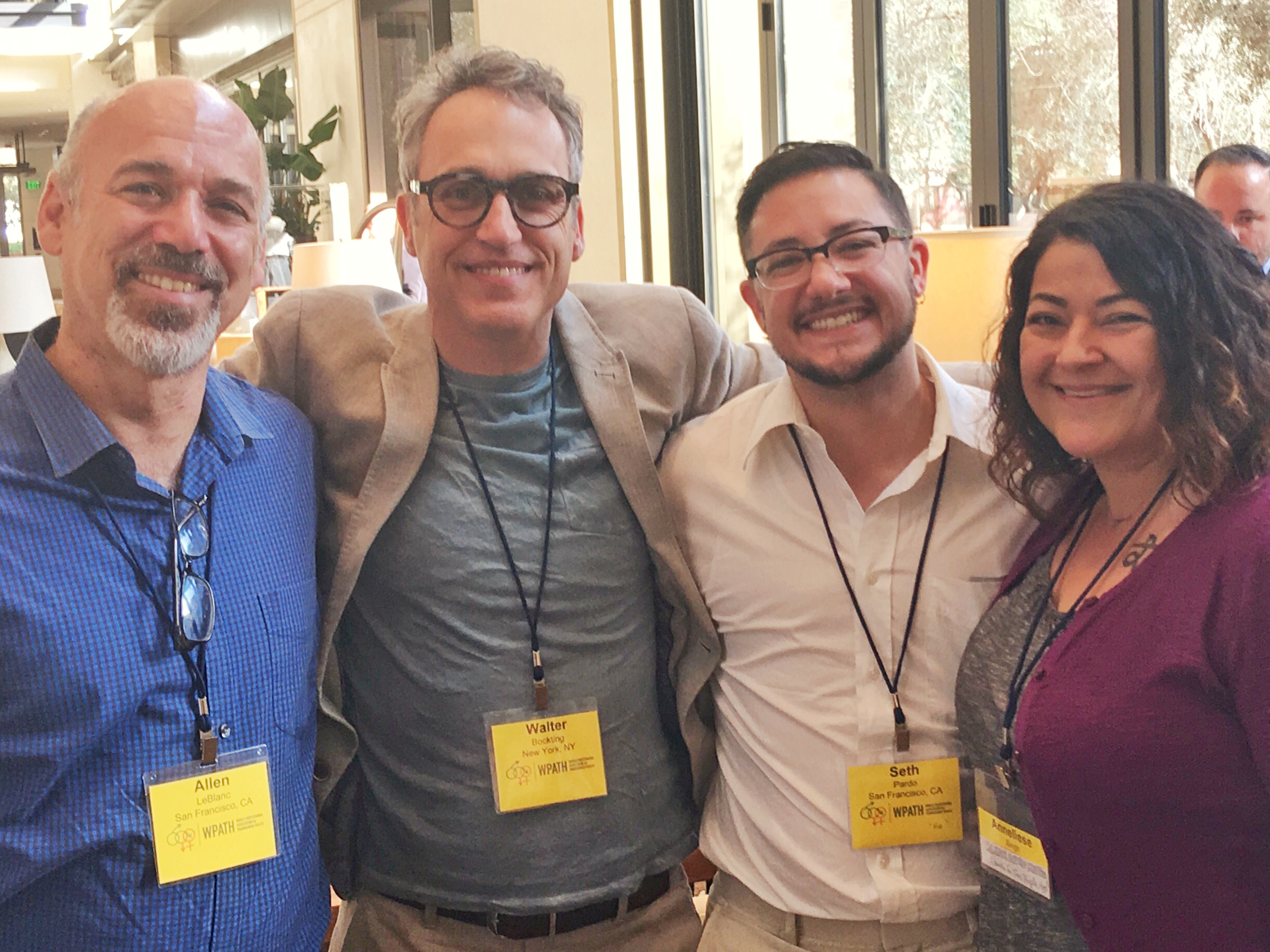 From left to right: Allen Leblanc, PhD -   Investigator, Project AFFIRM SF  , Walter Bockting, PhD - Principal Investigator, Project AFFIRM NYC, Seth Pardo, PhD -   Advisory Board Member - Project   AFFIRM   SF,   Anneliese Singh   - Investigator, Project AFFIRM ATL  .