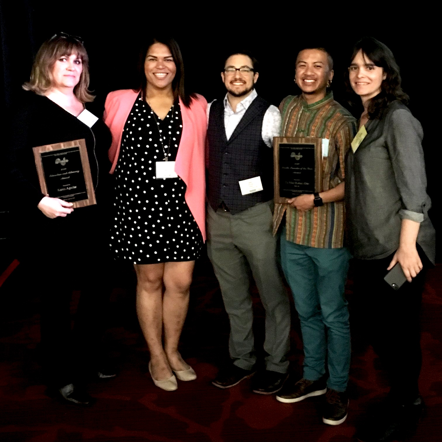 AFFIRM Advocate and Provider Award Ceremony 2019, Trans Health Summit in SF. The whole team gathered after the ceremony: Karen Aguilar, Jenna, Seth, Tố, and Kelly (left to right).