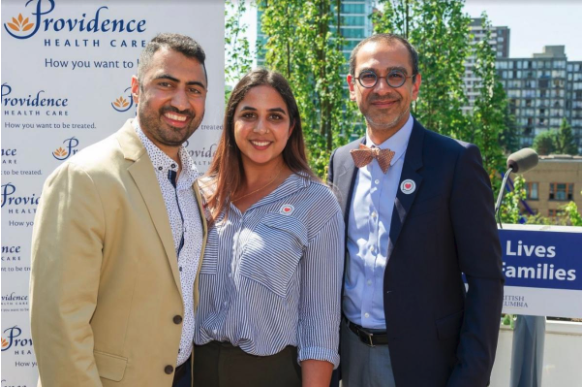 Dr. Sean Virani (R), Head of Cardiology at Providence Health Care, with Marc Bains (L) and his wife, Jessica Bains.