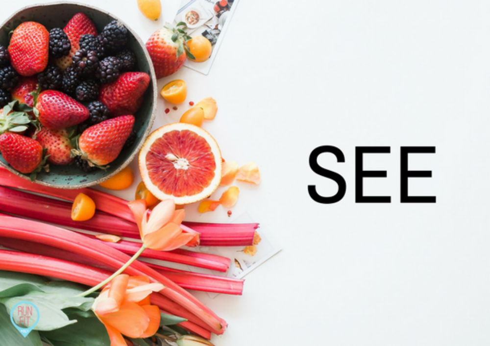 Fill your plate with colorful, nutritious foods. Taste with your eyes. Appreciate what is in front of you.