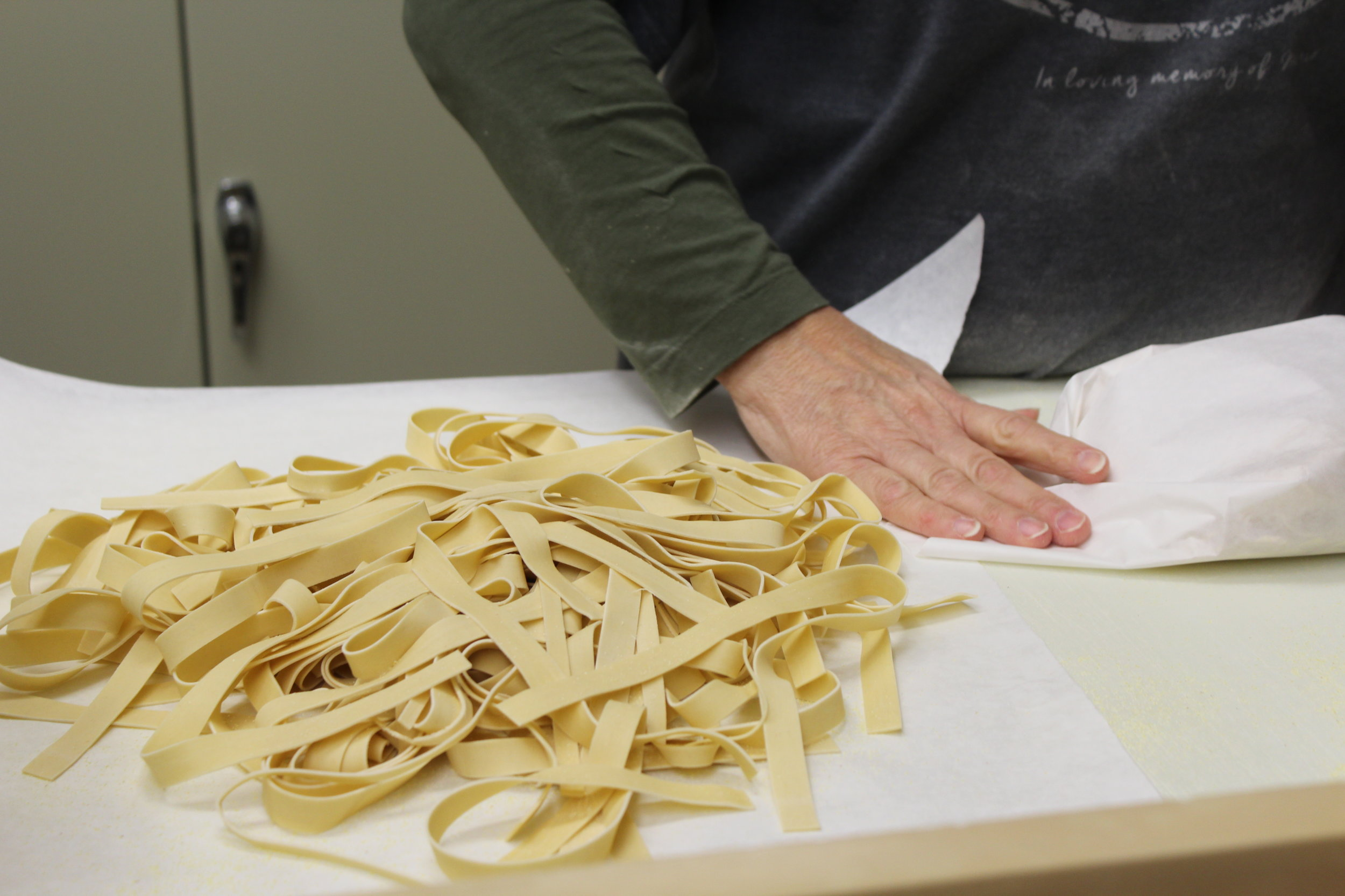 Egg noodles are cut fresh to order at Borgatti's