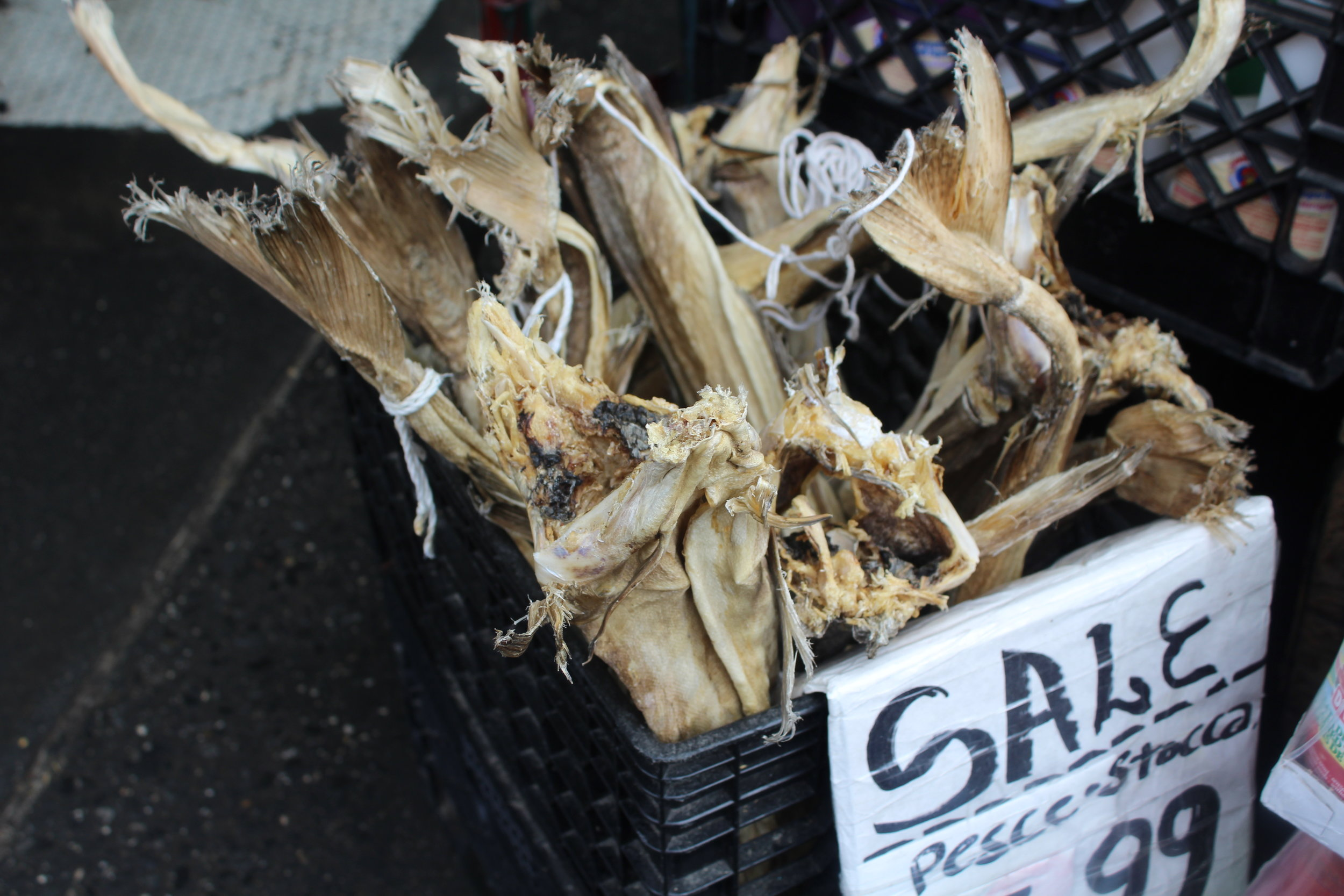 Stock fish is dried in the sun and then rehydrated after a week of soaking.