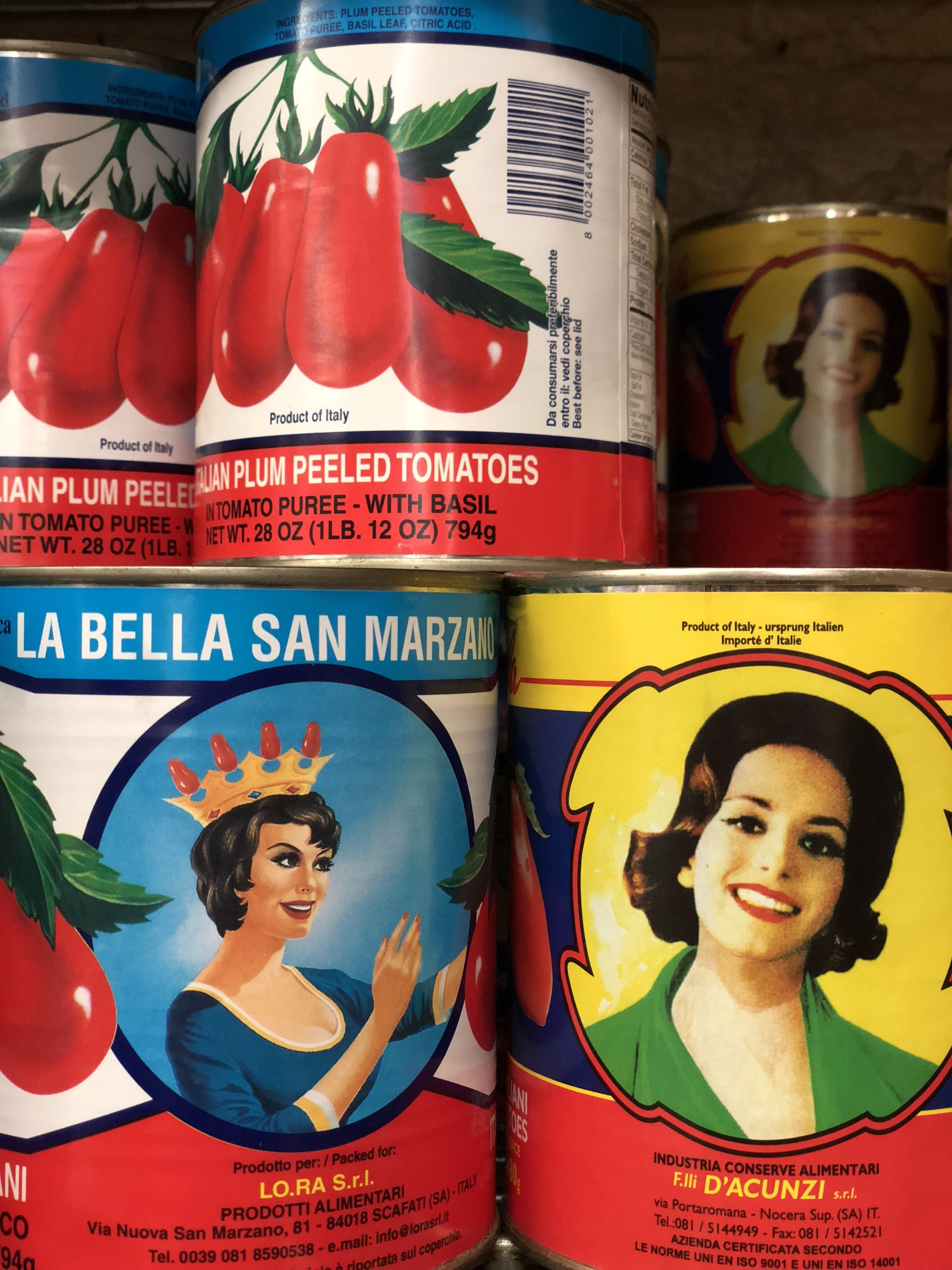 Authentic San Marzano tomatoes at  Mount Carmel Foods  inside the  Arthur Avenue Retail Market .