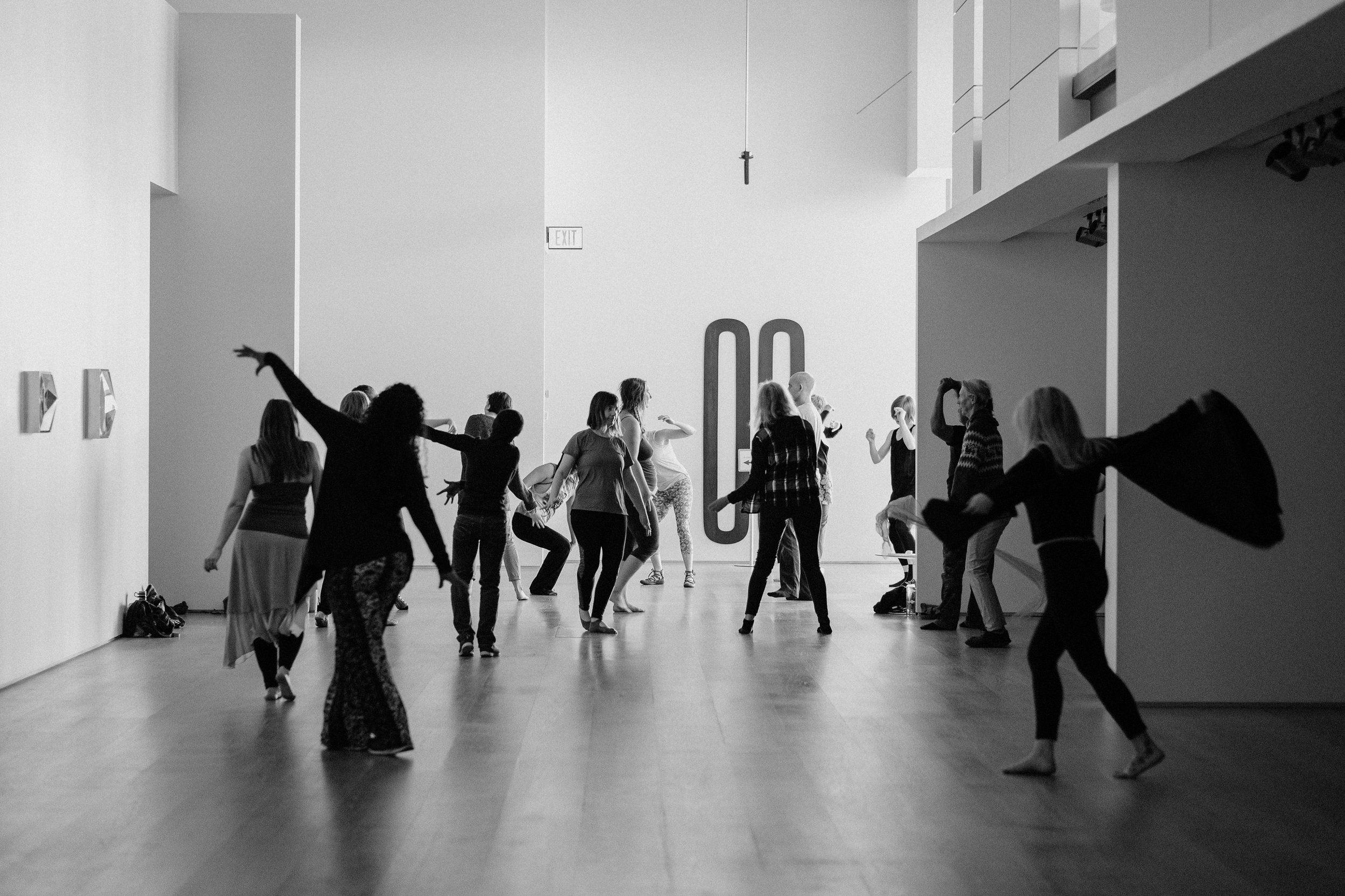 Photo by Allison Seto   from   Ecstatic Dance  with  Marie-Claire O'Donoghue  at    Esker Foundation.     Presented with the exhibition of Neil Campbell's  Wheatfield  and Jeremy Shaw's  Quantification Trilogy , 26 January – 12 May, 2019.