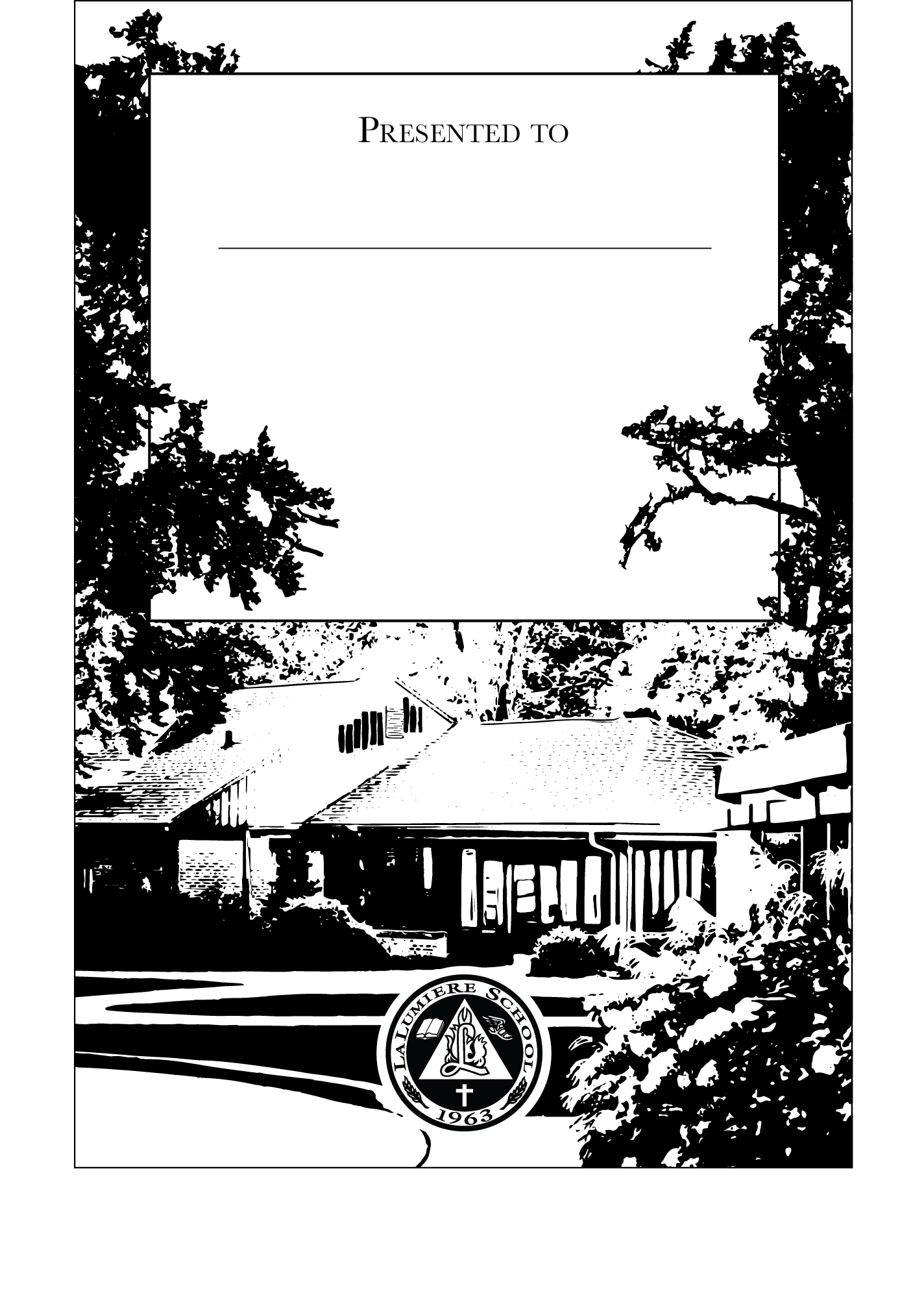 The La Lumiere bookplate features the Moore House, an iconic and historic school building, as its main subject.