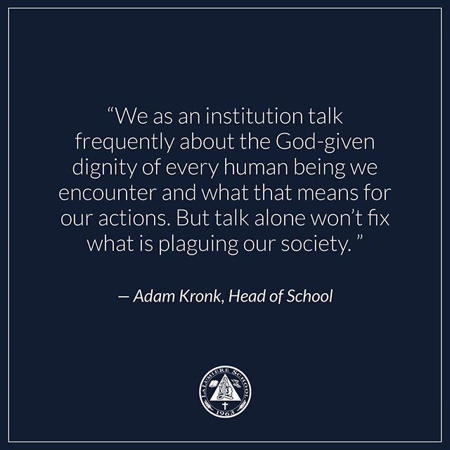 Read the complete letter from our Head of School, Adam Kronk, sent to our community (follow the link in our bio).