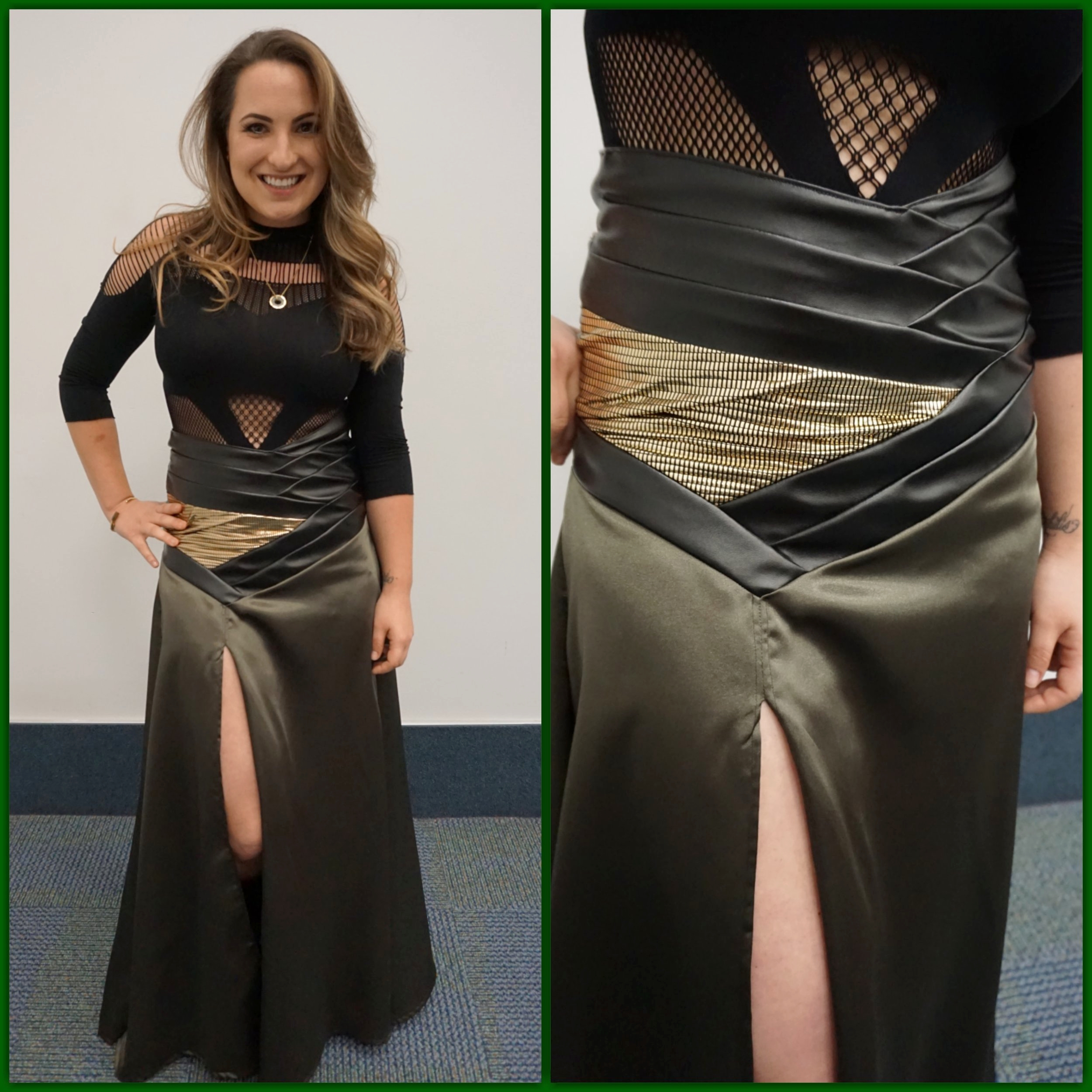 Camille in a Loki inspired skirt she designed and made