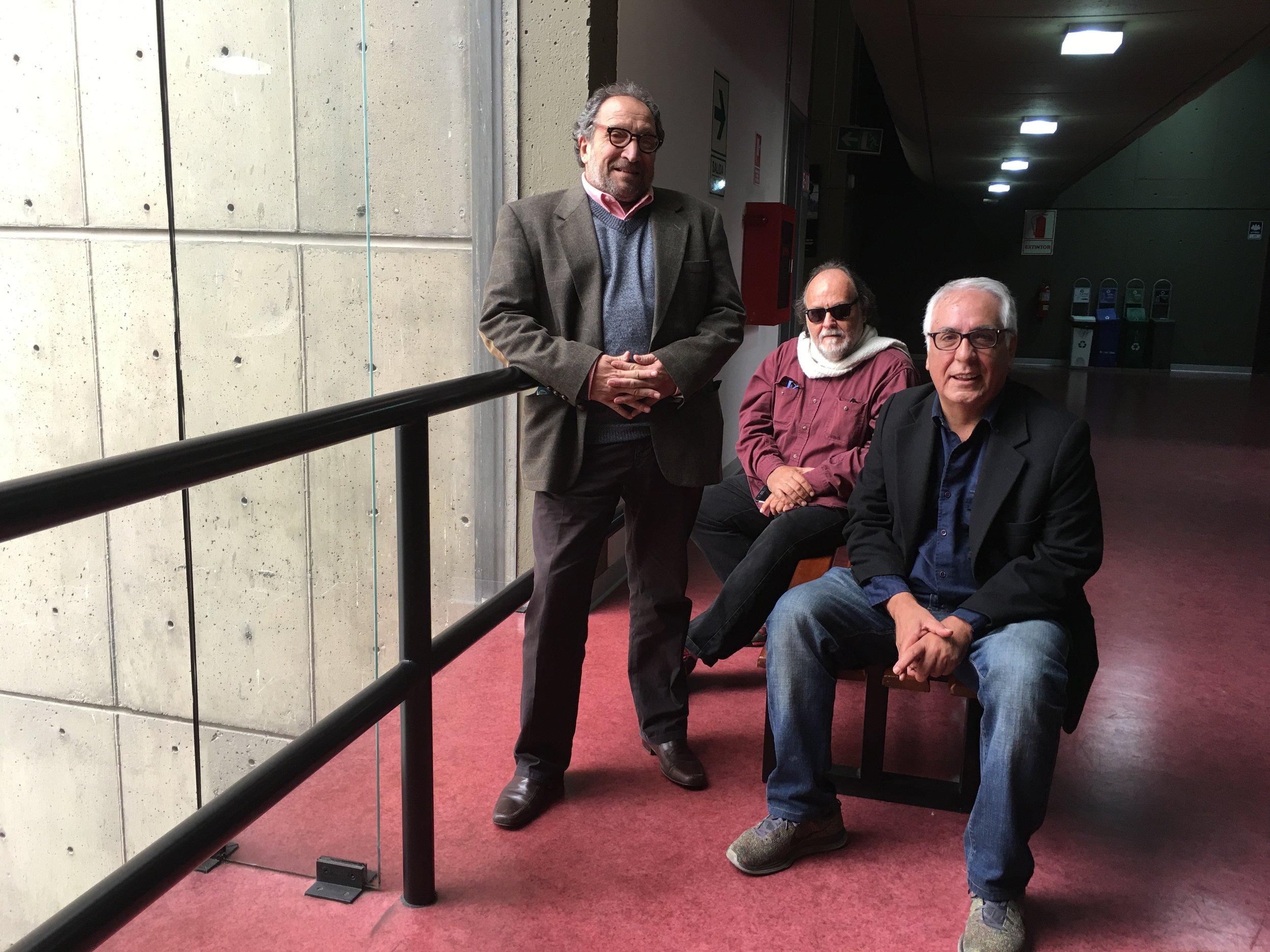 Productor Andrés Malatesta (izq); director de fotografía Juan Durán (centro) y guionista y director Rodolfo Pereira (der.)
