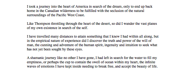 An excerpt to my upcoming West Coast Travel Log