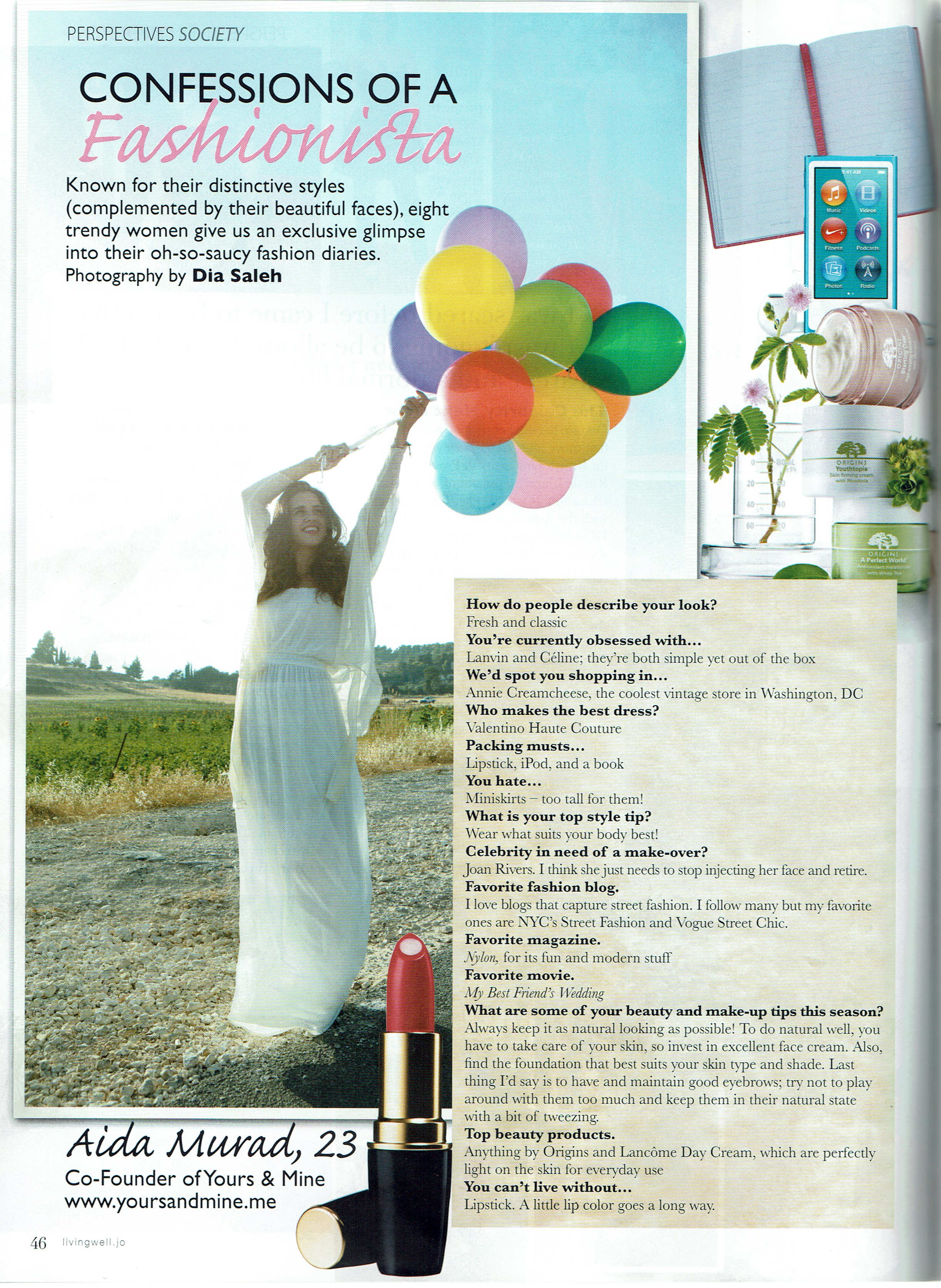 Featured in Living Well magazine in Jordan about my approach to fashion.