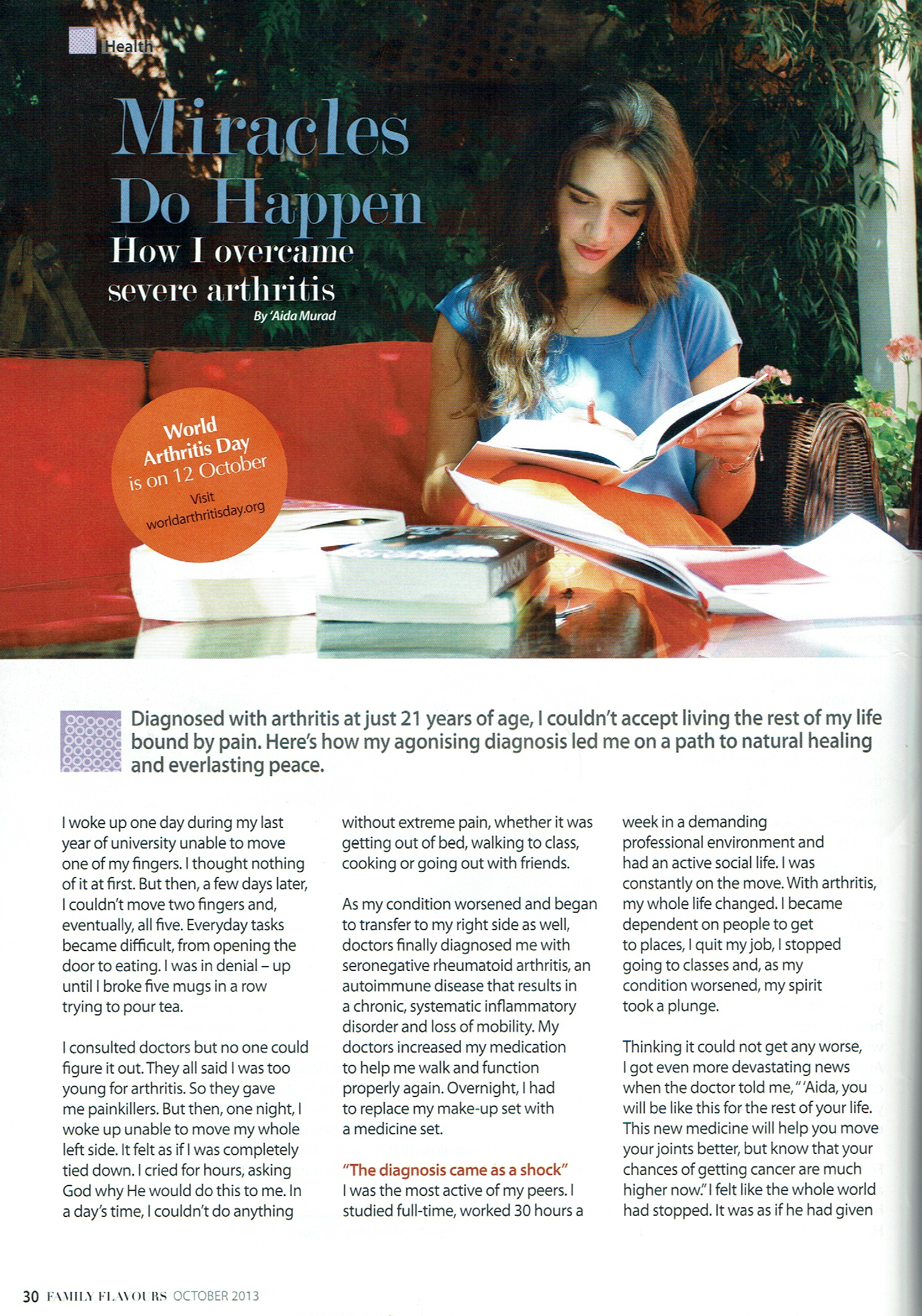 Miracles Do Happen - Article featured in Family Flavors magazine in Jordan part 1