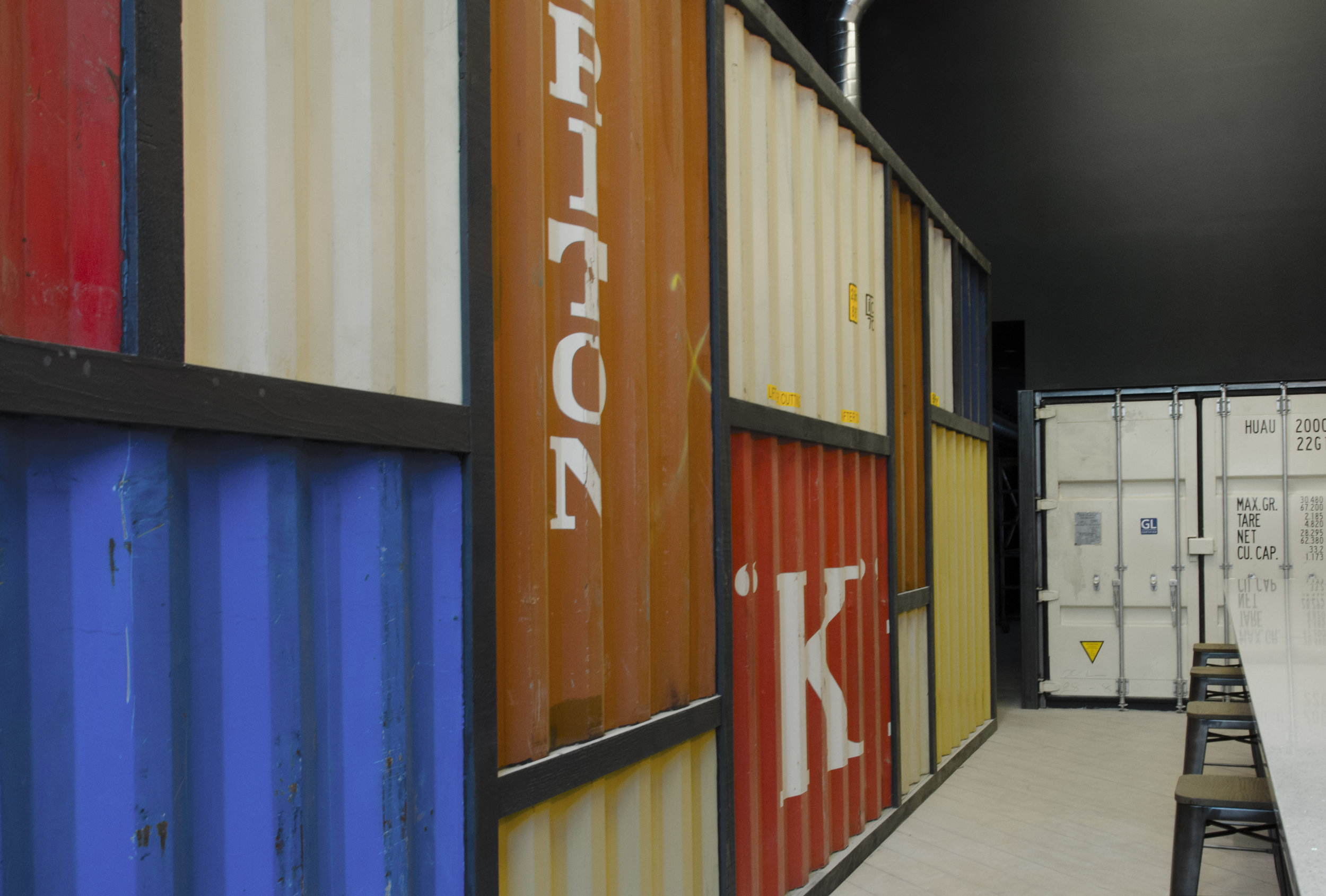 the port bar wall of recycled shipping containers from the port of oakland  (Jeff Kaluzny/JMKImages @jmkImages)