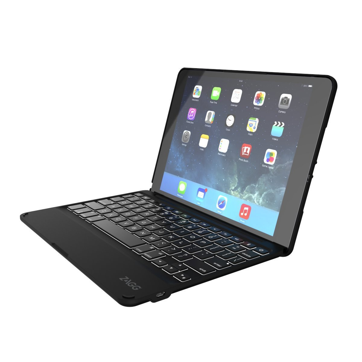 ZAGG Folio Case Hinged with Backlit Bluetooth Keyboard for iPad Air 2 - Black