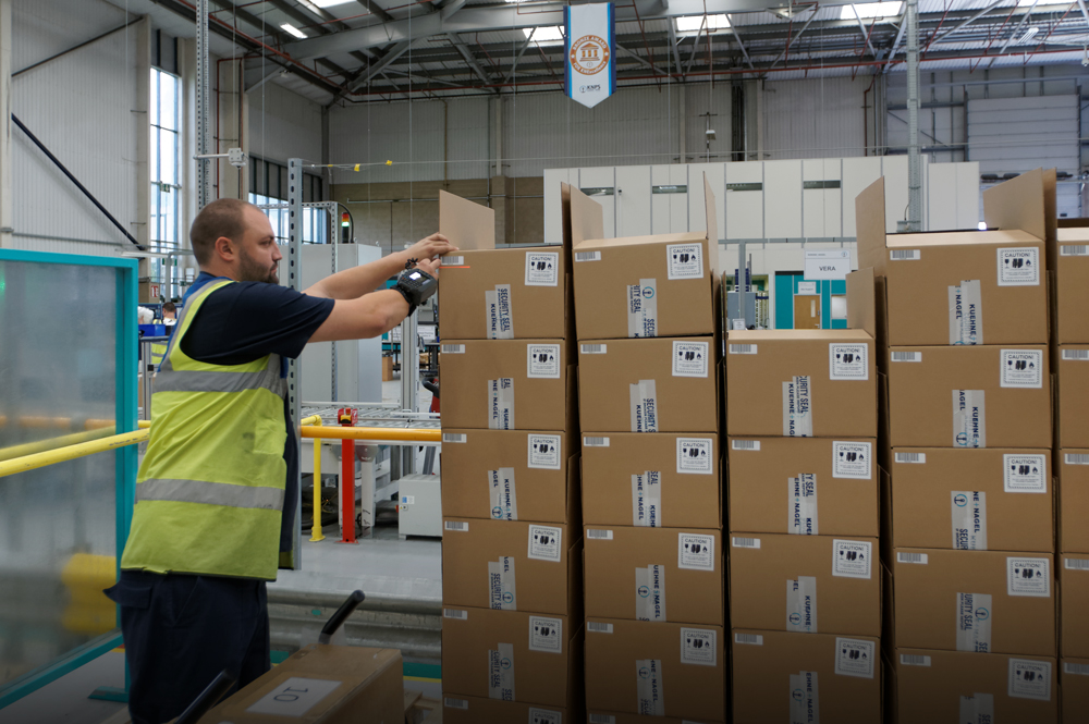 Customer service doesn't happen only when customers are on the phone or on-site for a meeting.At Kuehne + Nagel, that looks like each piece of cargo being treated carefully as it is moved,often across multiple continents. Photo courtesy of Kuehne + Nagel International AG.
