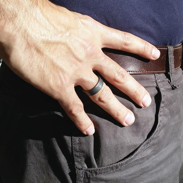 Handmadebizplanner.com-Epheriell-7mm oxidised chunky band nick model