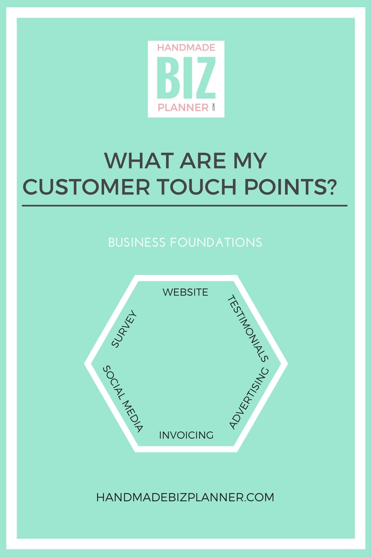 Handmade Biz Planner - Business Foundations - What are my customer touch points?