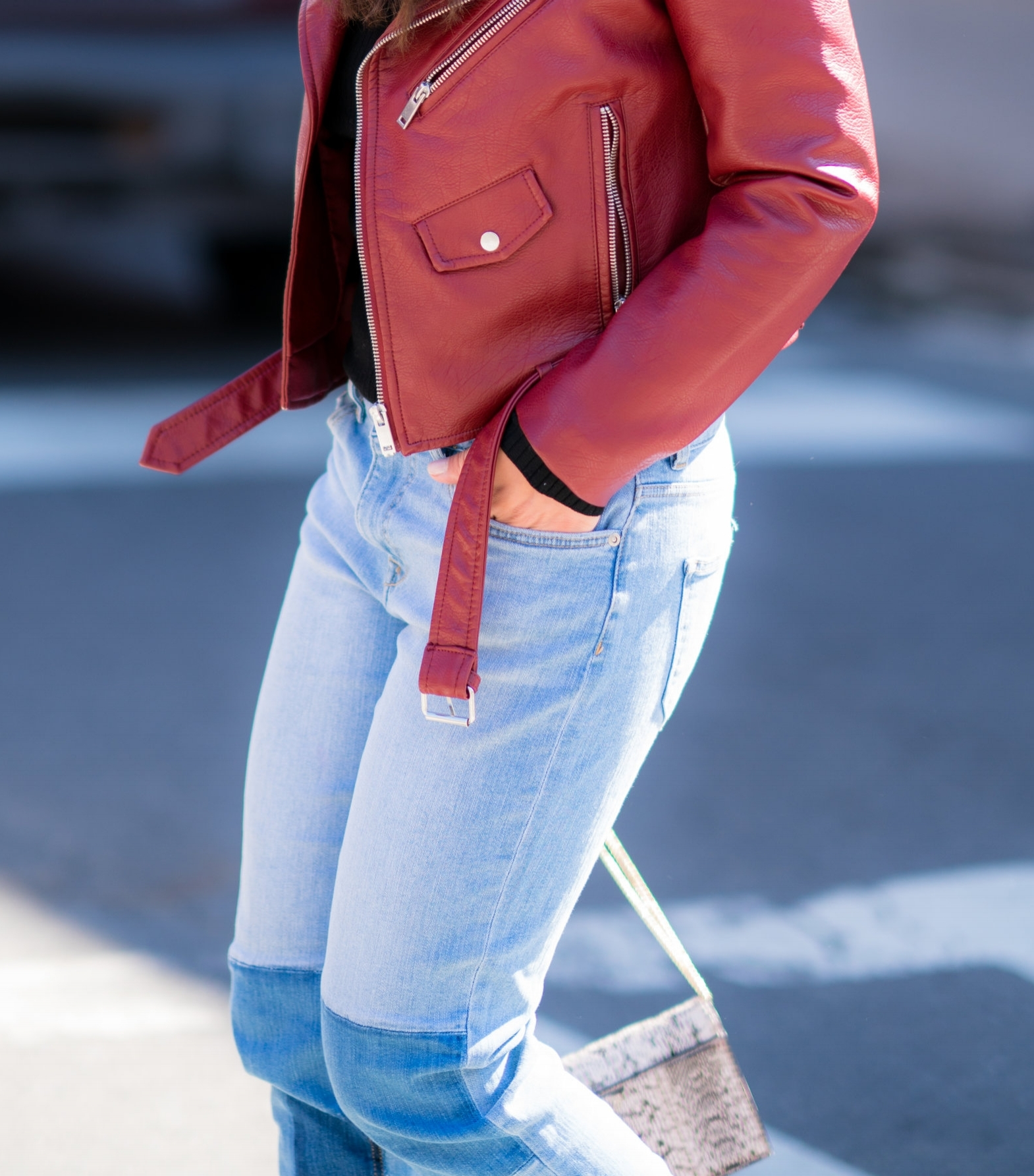 DETAILS RED LEATHER JACKET AND PATCHWORK JEANS