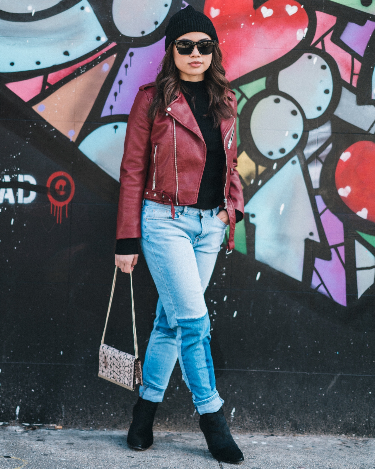 ZARA RED LEATHER JACKET PATCHWORK JEANS