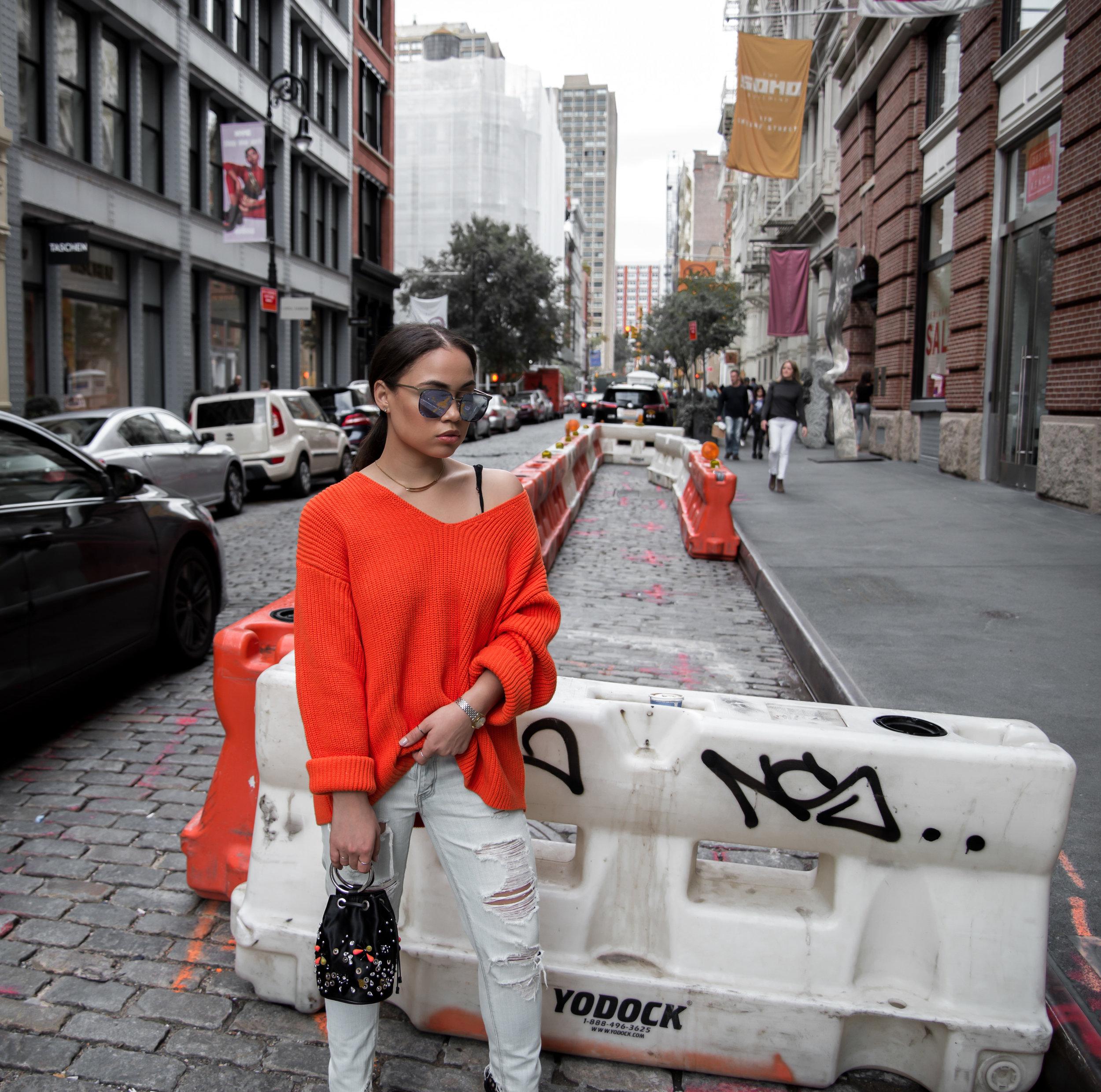 ORANGE H&M SWEATER ZARA MINI BAG EMBELLISHED SCHUTZ SHOES CASUAL STREET STYLE