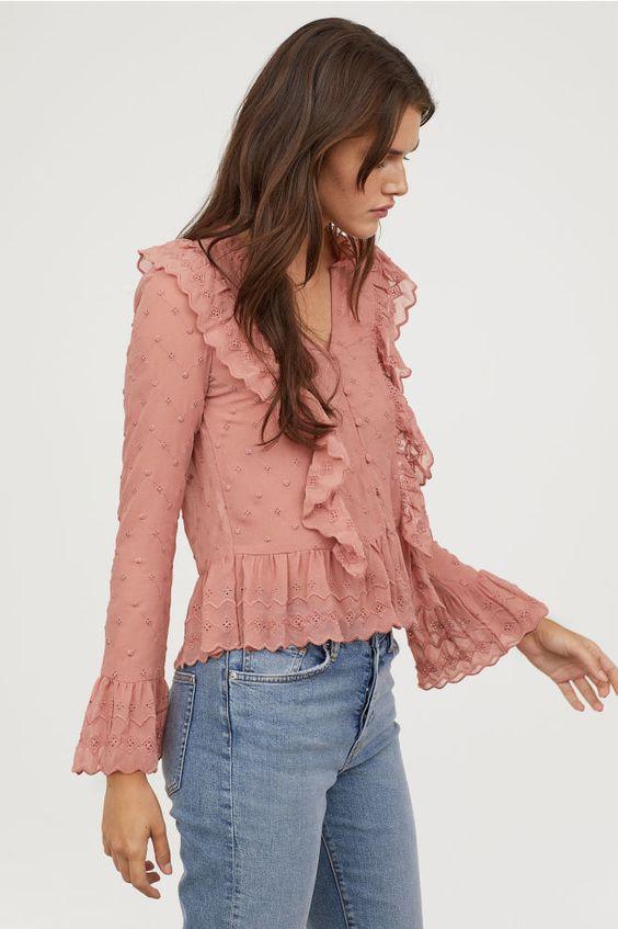 H&M Vneck Blouse Vintage Pink