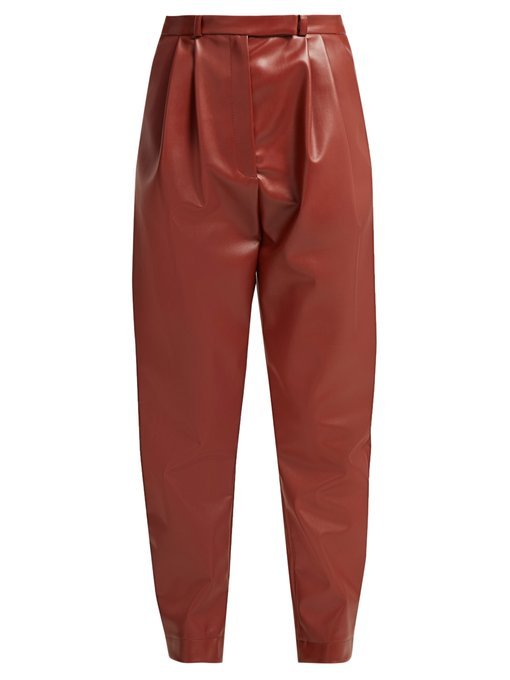 A.W.A.K.E.  Pleat-front faux-leather trousers