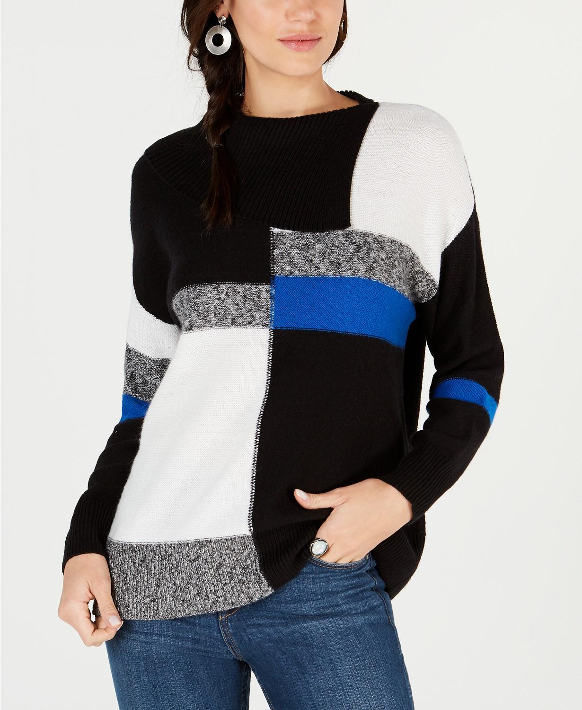 Style & Co Petite Colorblock Envelope Collar Sweater
