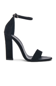 Victoria Beckham Suede Anna Ankle Strap Sandals in Black