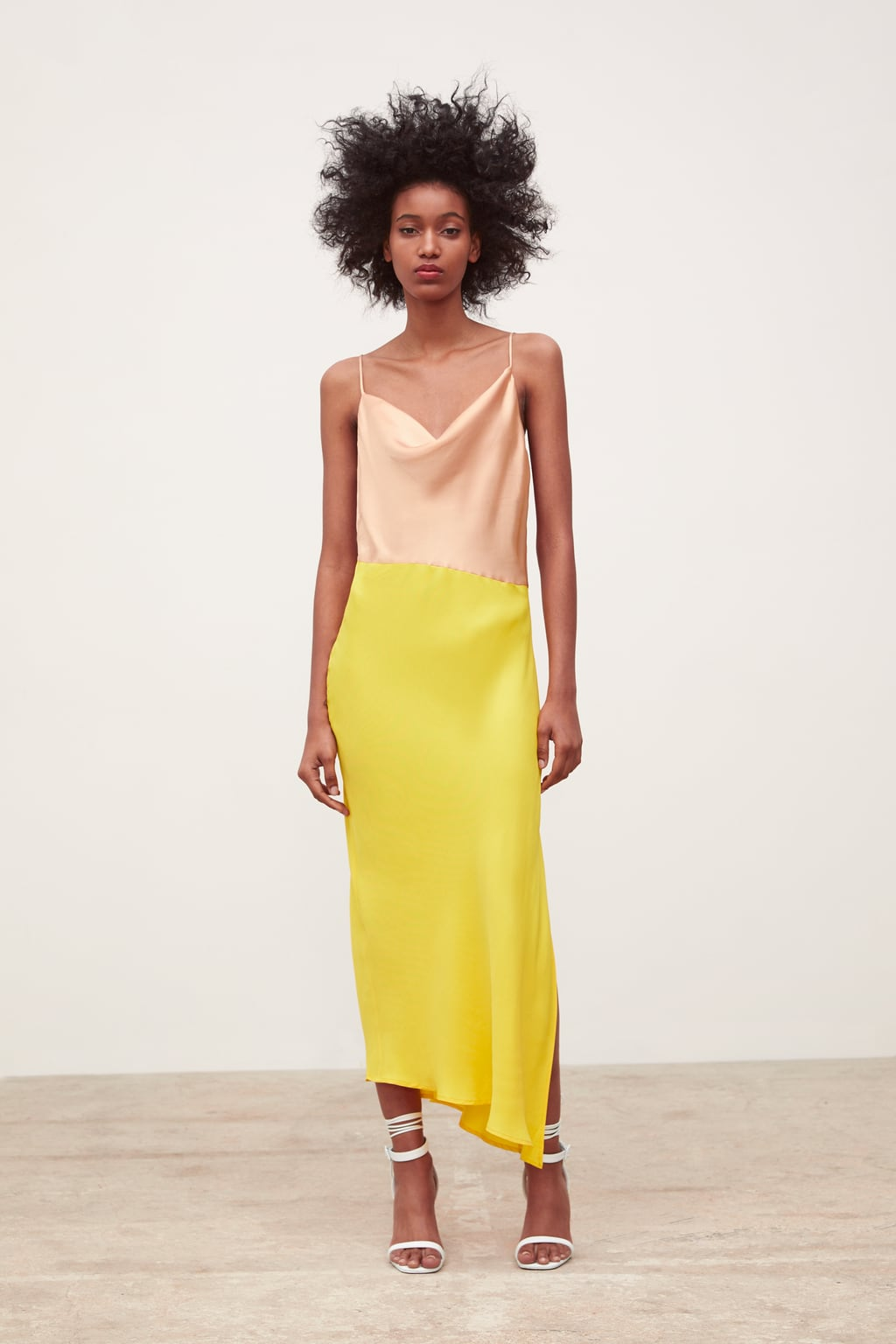 BLOCK COLOR SLIP DRESS - A lovely slip dress with side slits.