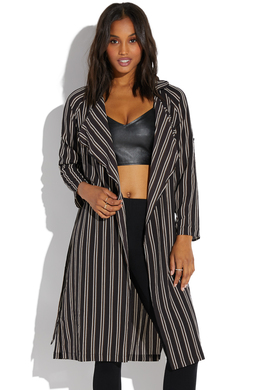 Shoedazzle Trench Striped Duster Jacket