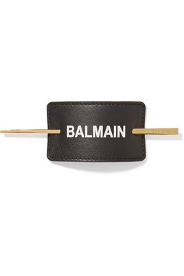 Balmain Paris Hair Couture - Gold-plated And Printed Leather Hair Pin - Black