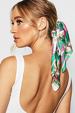 Chain Pattern Scarf Scrunchie Hair Tie by: @Boohoo.com (US)