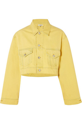 GANNI - Cropped Denim Jacket - Yellow