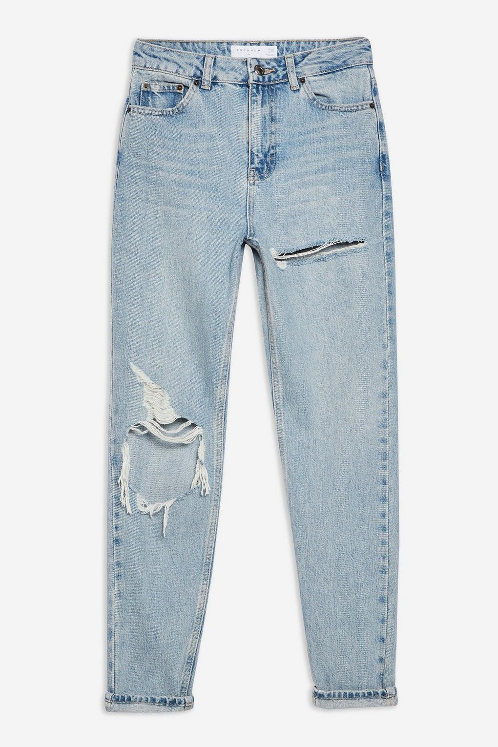 TOPSHOP BLEACH WILLOW RIP MOM JEANS - RIPPED JEANS