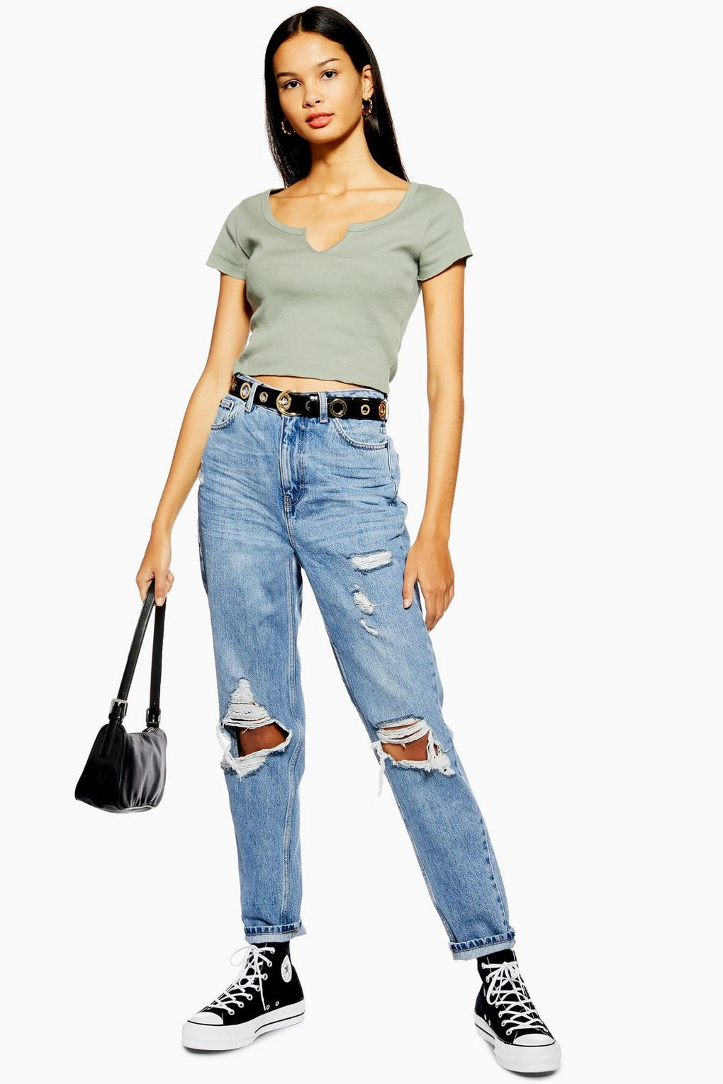 TOPSHOP BLEACH DESTROY RIP MOM JEANS