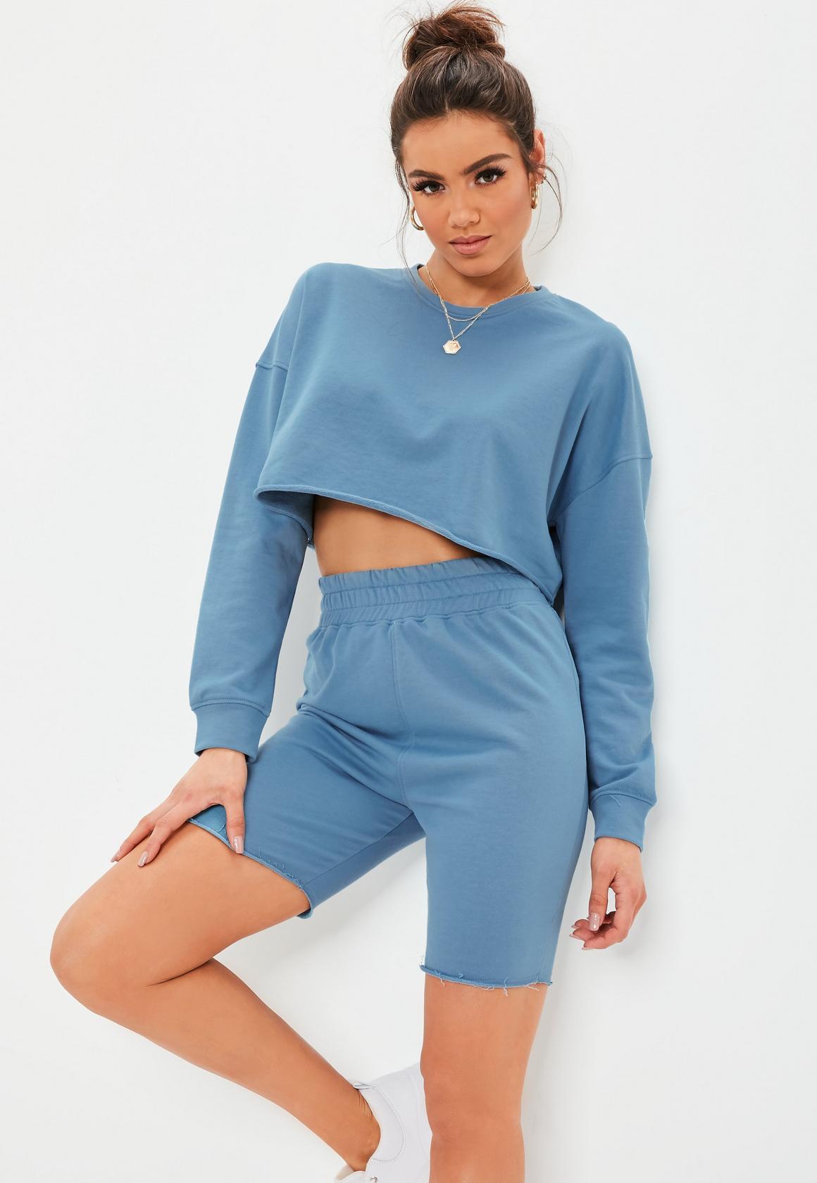 Blue Crop Sweater Set -