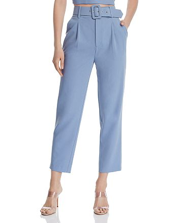 Belted Cropped Straight-Leg Pants -