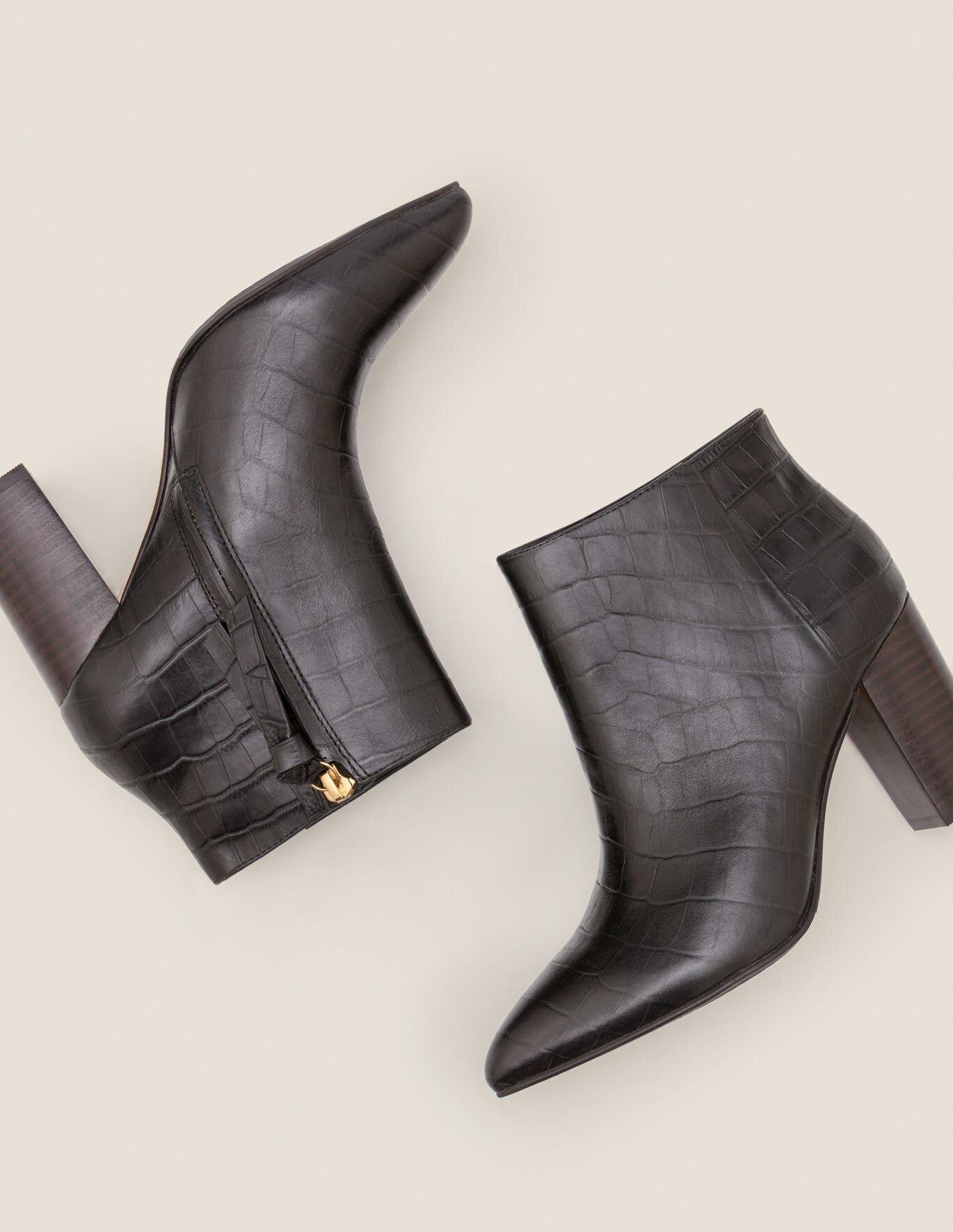 LANGLEY ANKLE BOOTS - BLACK CROC