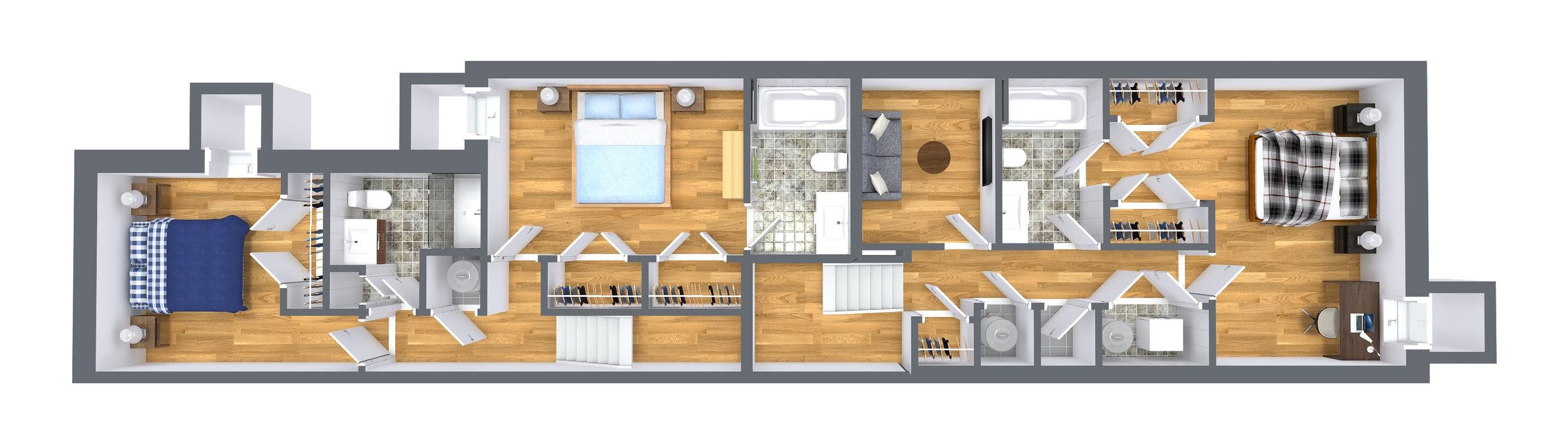 Basement - Bi-Level One Bedroom, One Full Bathroom + Den,1,050 SqrFt.Bi-Level Two Bedroom, Two Full Bathroom, 1,225 SqrFt.